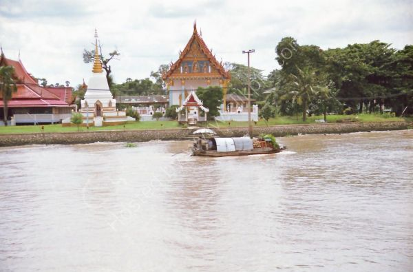 Buildings and Laden Boat, Mae Nam Chao Phrayal River, Ayutthaya to Bangkok