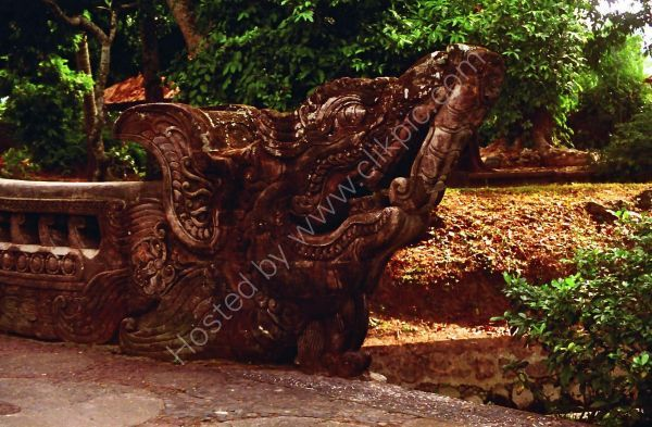Carved End of Balustrade, Temple in Mountains, Bali
