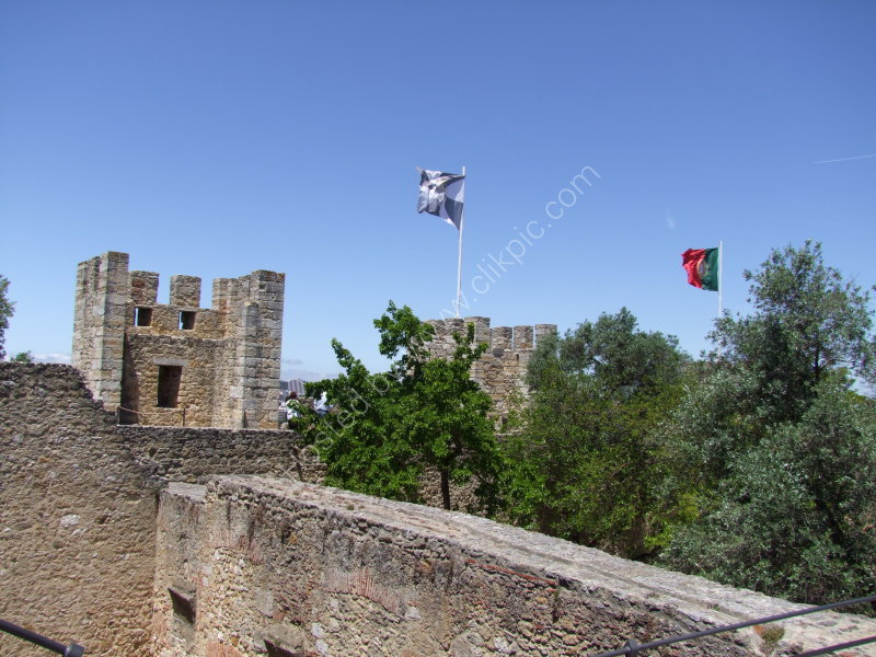Top of 11th century Castle Walls & Flags