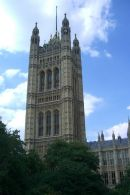 Tower over Sovereign's Entrance, Houses of Parliament, Westminster, London