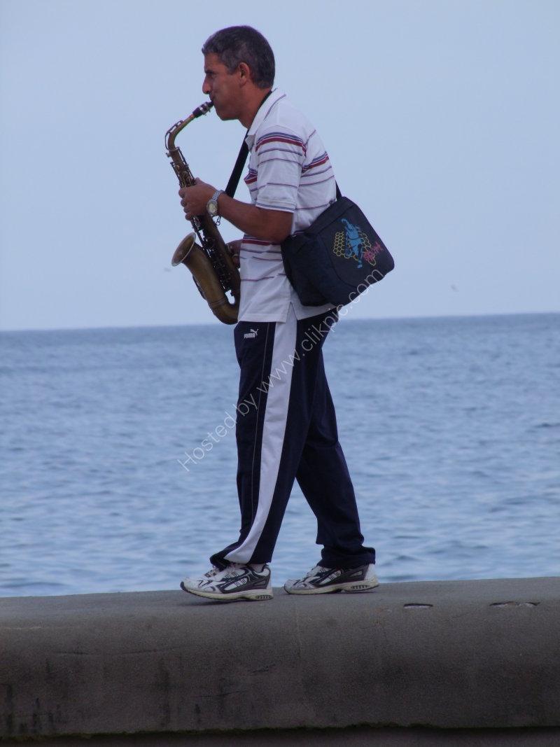 Cuban Saxophonist, Malecon, Havana