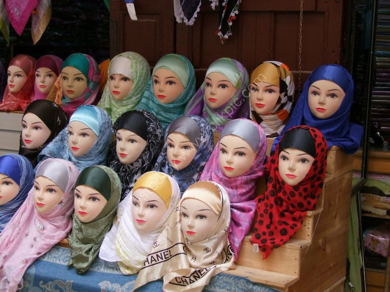 Head Scarf Display in Medina, Fes