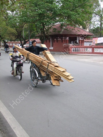 Carrying Load of Timber on Cyclo, Hue