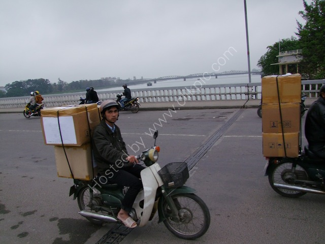 Carrying Load of Boxes on Motorcycle, Hue