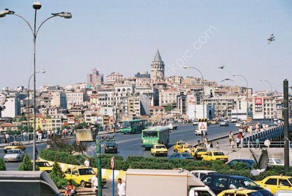 Euopean Side of Istanbul with Galata Bridge & Galata Tower in Background, Turkey