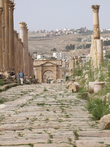 Looking North through Roman Gates, Jerash
