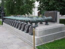 Display of different cannons within the Kremlin