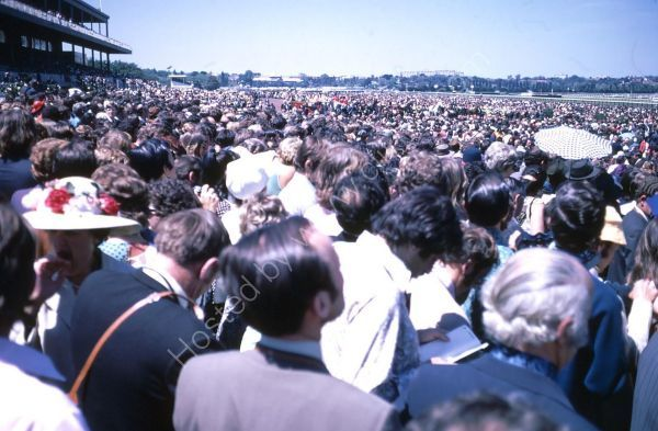 Crowd at 1972 Melbourne Cup, Flemington Racecourse, Melbourne