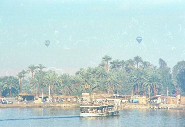 Overloaded Ferry Boat & Hot Air Balloons, River Nile