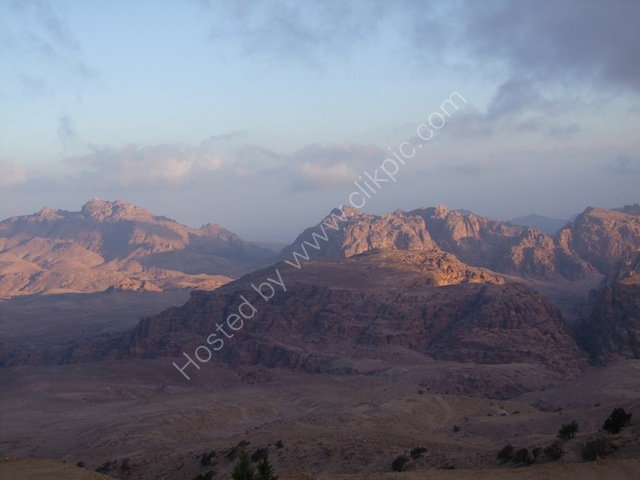 Sunrise over Wadi Musa from Panorama Hotel, Petra
