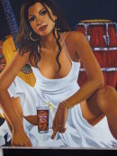 Painting of Cuban Lady with Havana Club and Cigar, Prado, Havana