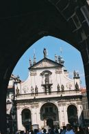 Church of the Holy Saviour viewed from Old Town Bridge Tower, Charles Bridge, Prague