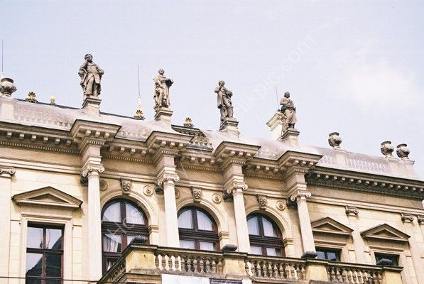Statues on Rudolfinum, Old Town, Prague