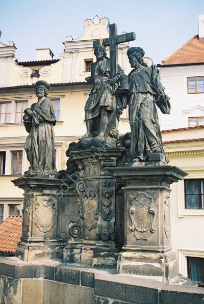 Christ between St Cosmas & St Damien, 1709, Charles Bridge, Prague