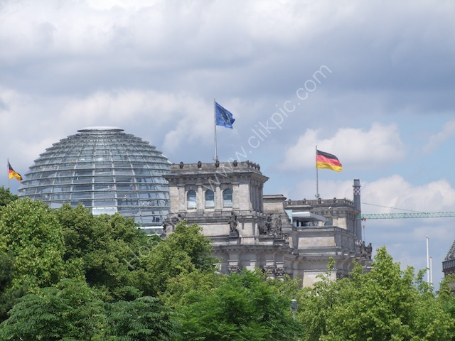 Reichstag Dome viewed from Brandenburg Gate, Berlin