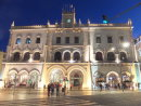 Facade of Rossio Train Station at Night