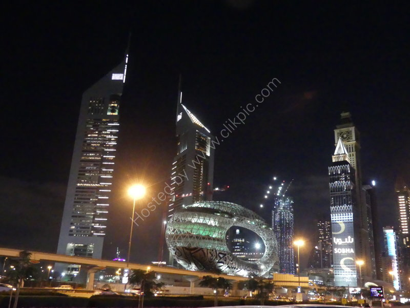 Buildings on Sheik Zayed Road at Night, Dubai 2019