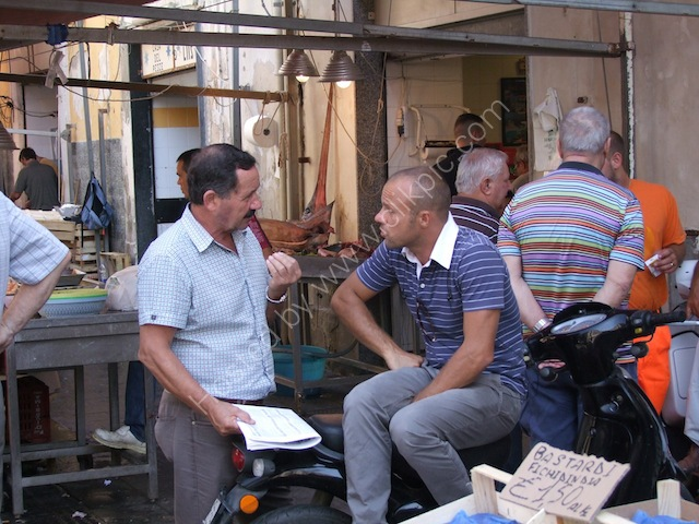 Sicilians Chatting, Food Market, Syracusa