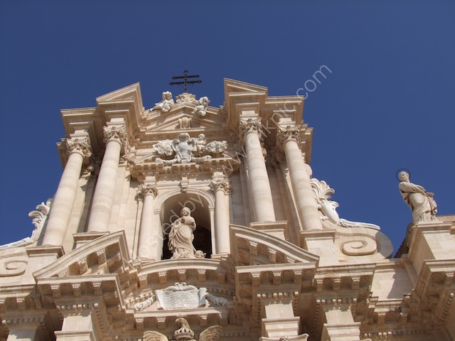 Detail of Facade to Cathedral, Piazza Duomo, Ortygia Island, Siracusa
