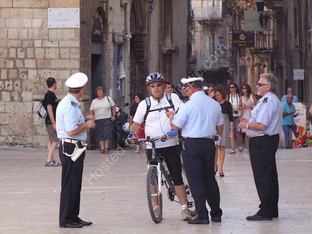 Sicilian Policemen & Cyclist, Piazza Duomo, Ortygia Island, Syracusa