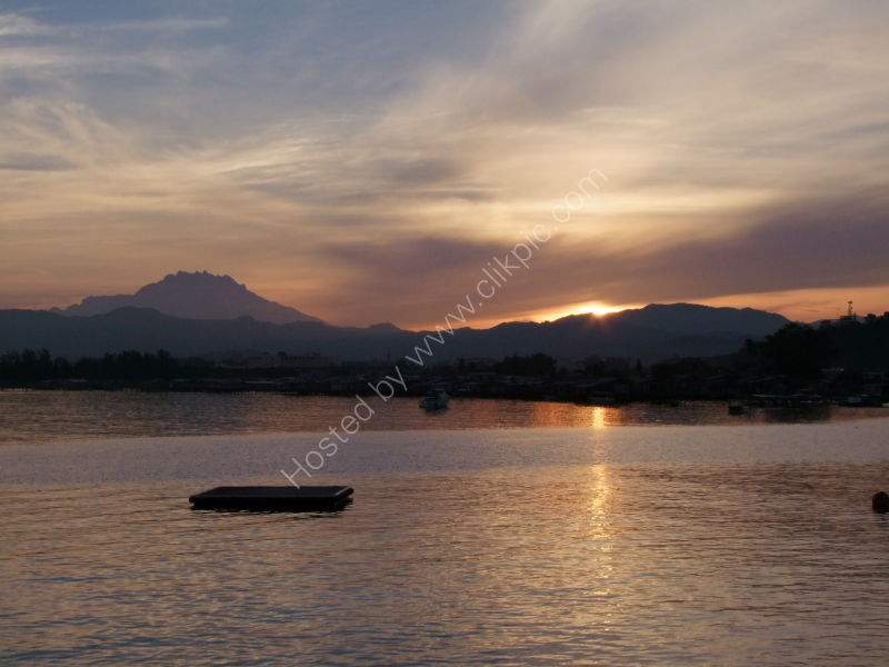 Sunrise over Kota Kinabalu volcano