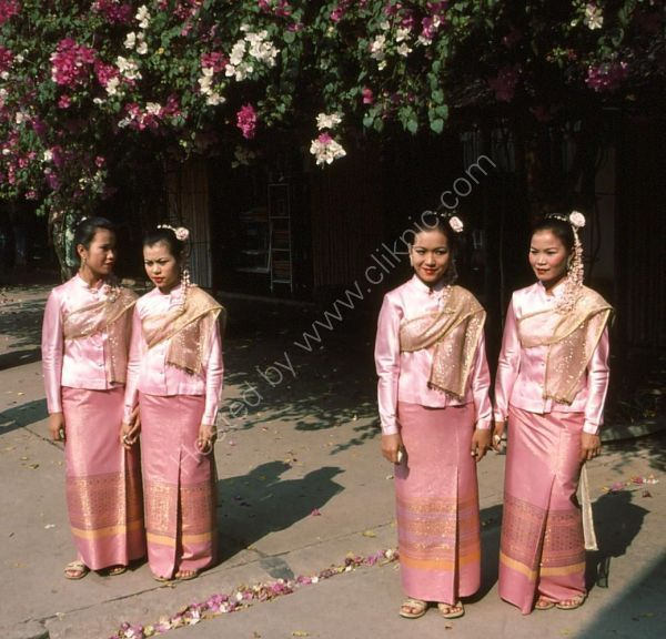 Thai Women in Traditional Dress, Rose Garden Cultural Centre, Bangkok