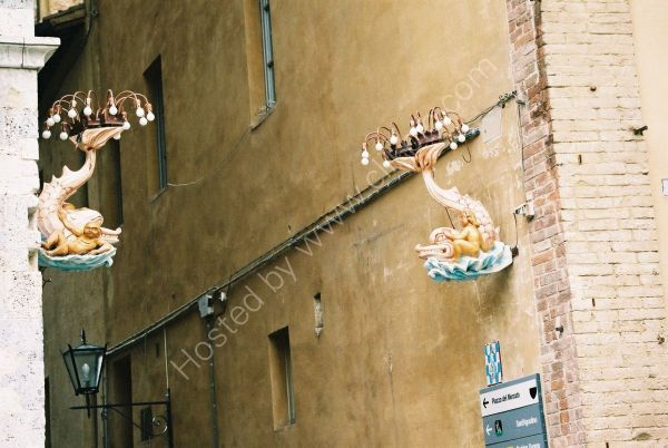 Street Lamps in Piazza del Campo, Sienna, Tuscany