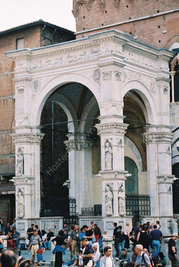 Entrance to Loggia del Mercanzia, Piazza del Campo, Sienna, Tuscany