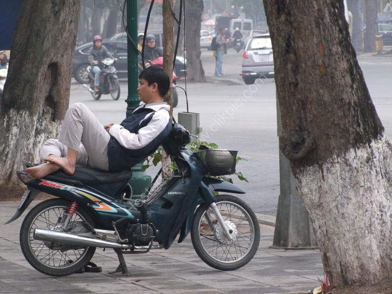 Vietnamese Biker Taking a Nap!