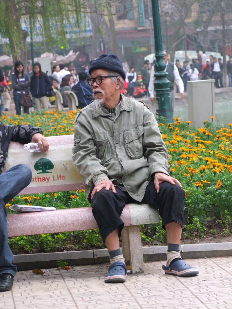 Vietnamese Old Man in Park