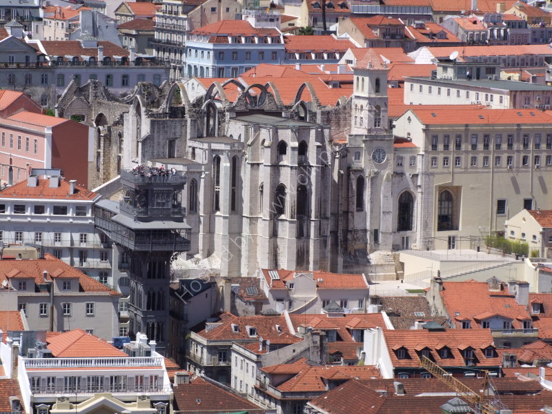 View of Cathedral do Carmo & Elevator Santa Justa