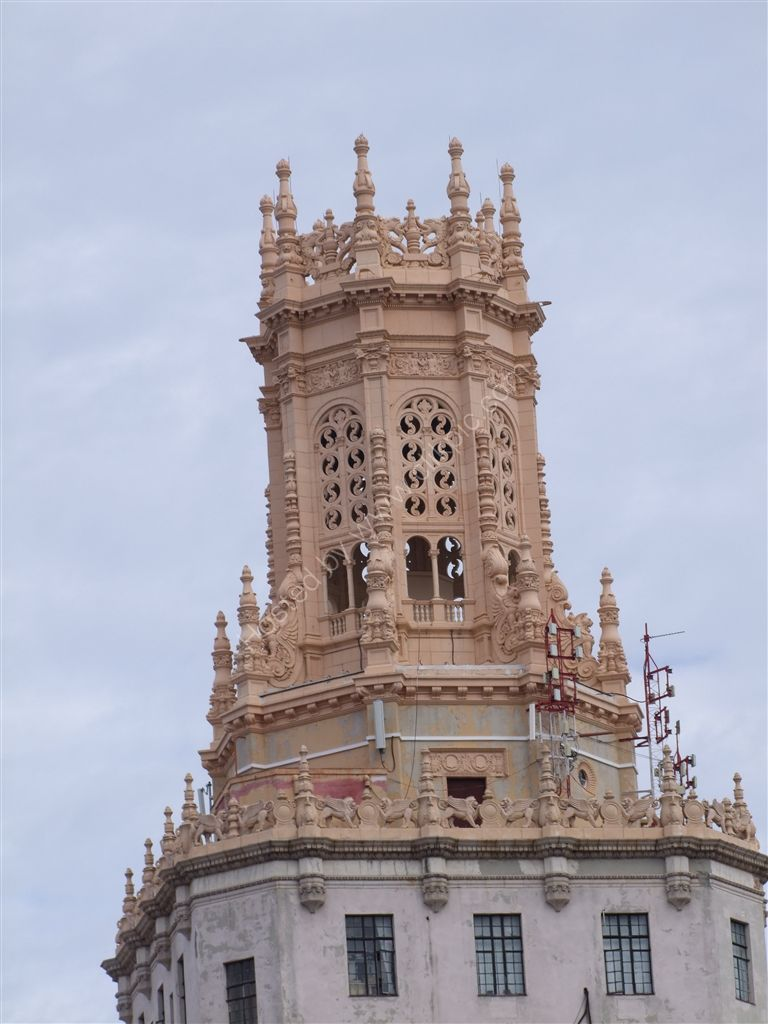 Top detail of Telephone Company Building, Havana