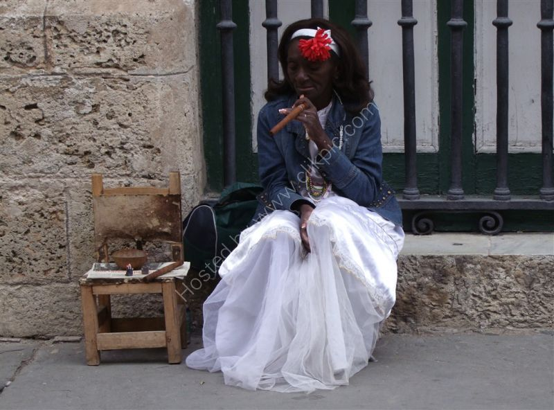 Cuban Lady in Typical Dress, Obispo Street, Havana
