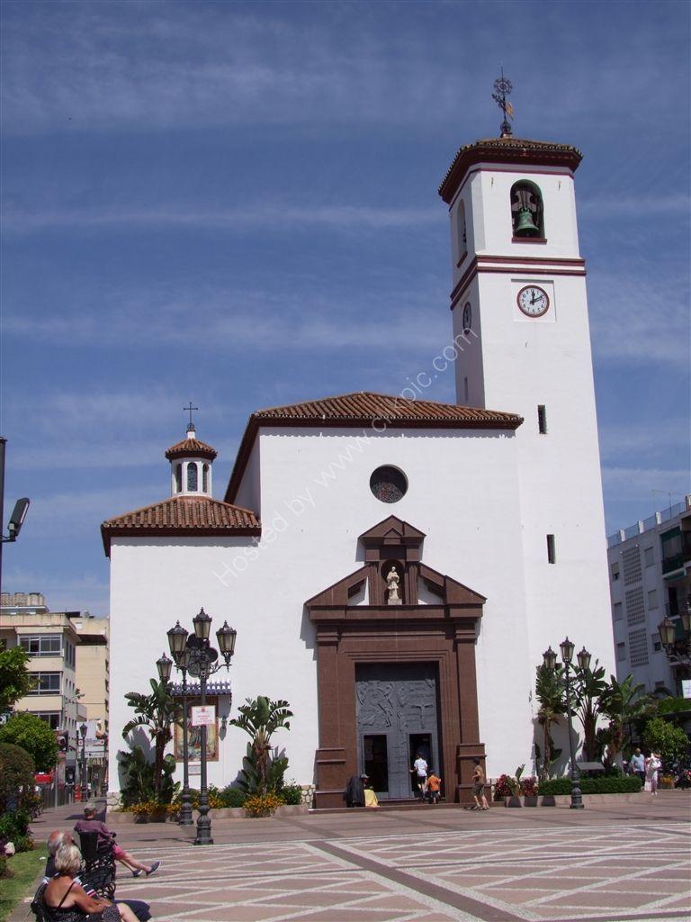 Church in main plazza of Fuegirola, Spain
