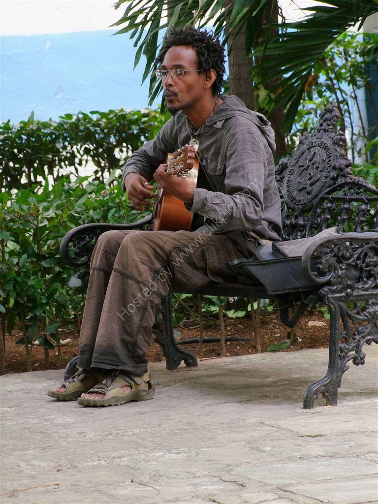 Cuban Guitarist, Park on Officios Street, Havana