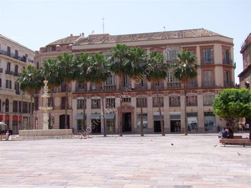 Square at the top of Molina Larios, Malaga, Spain