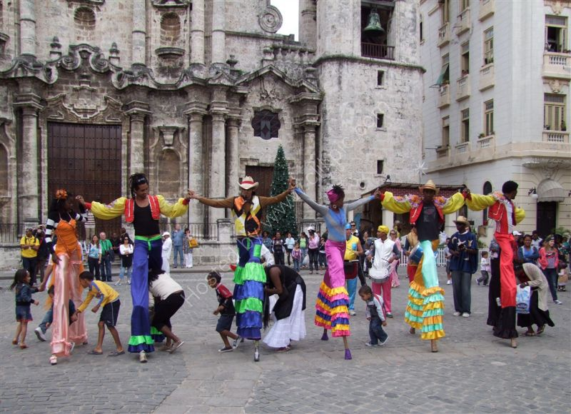 Dancers on Stilts, Cathedral Square, Havana