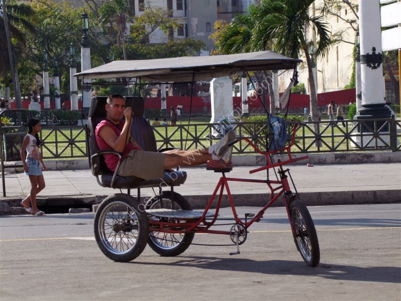 Driver Resting! Tricycle Taxi, Central Park, Havana
