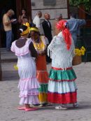 Cuban Ladies in Traditional Dress, Cathedral Square. Havana