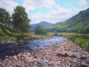 """Summer in Glenisla -The River at Auchavan"". Oil on board. 47x38cm. SOLD"