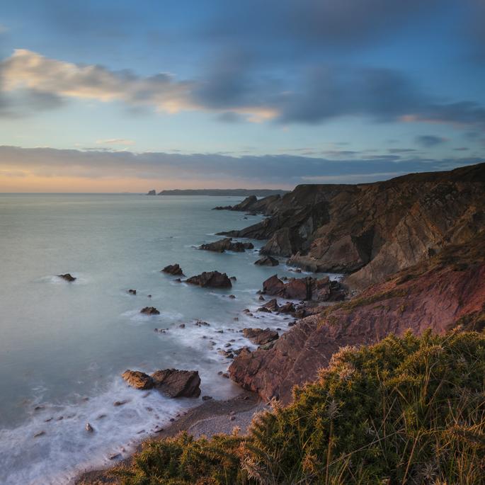 View to Skomer Island, Pembrokeshire Coastal Footpath.