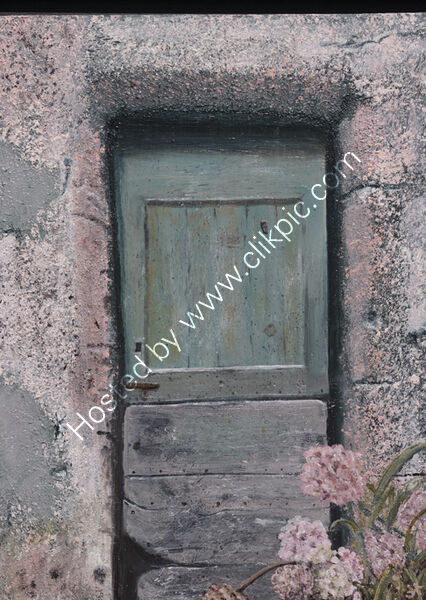 Old French Door with Hydrangeas