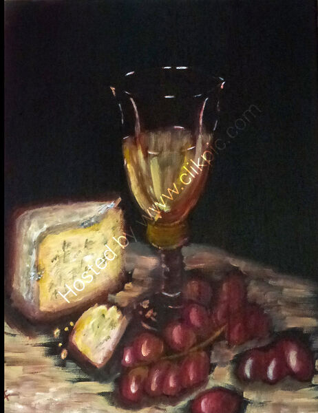 White Wine, Grapes and Blue Cheese .
