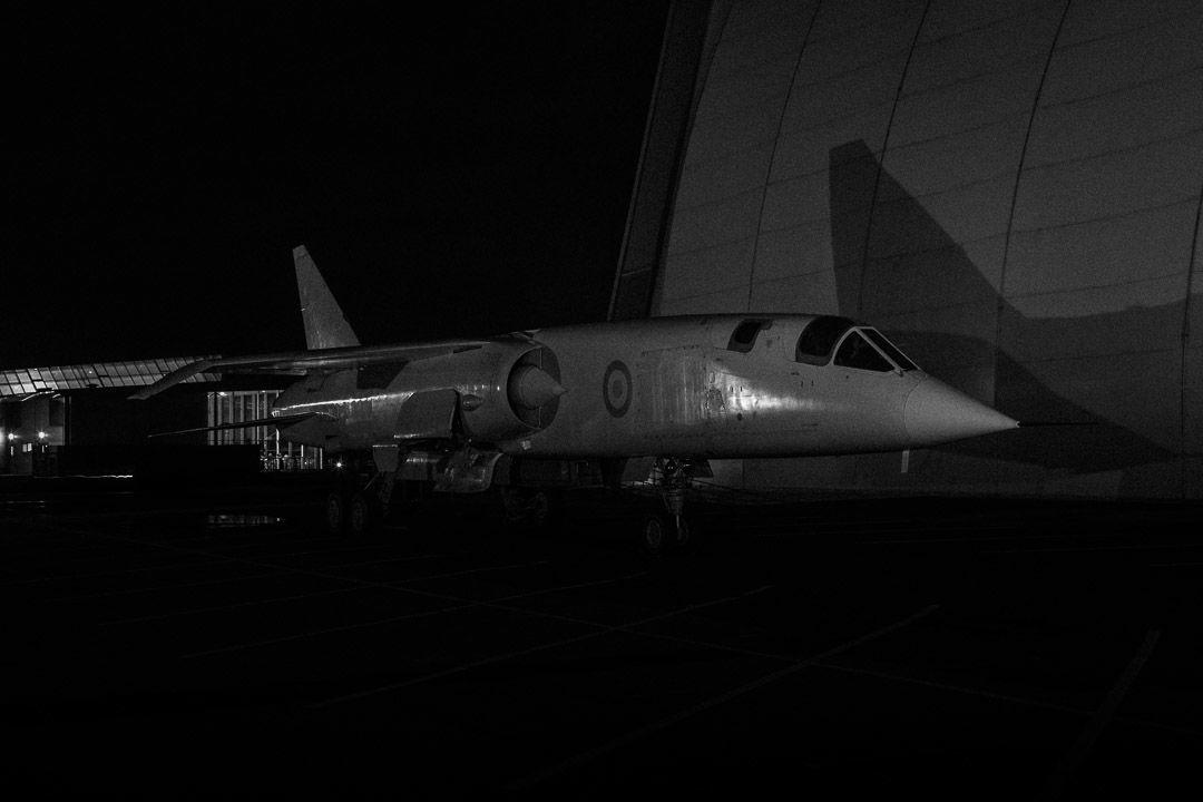 TSR2 at night at Cosford