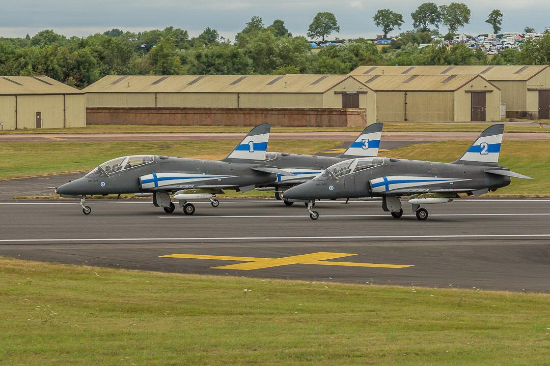 Three Finnish Hawks at RIAT Fairford 2017.