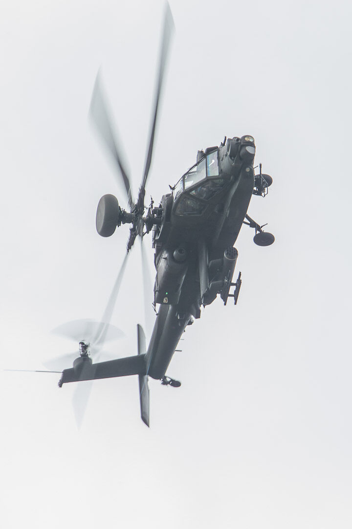 An Army Air Corps Apache banks hard over RNAS Yeovilton.
