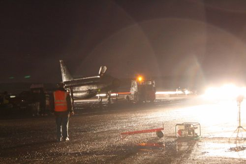 Lightning towed back to the QRA shed.