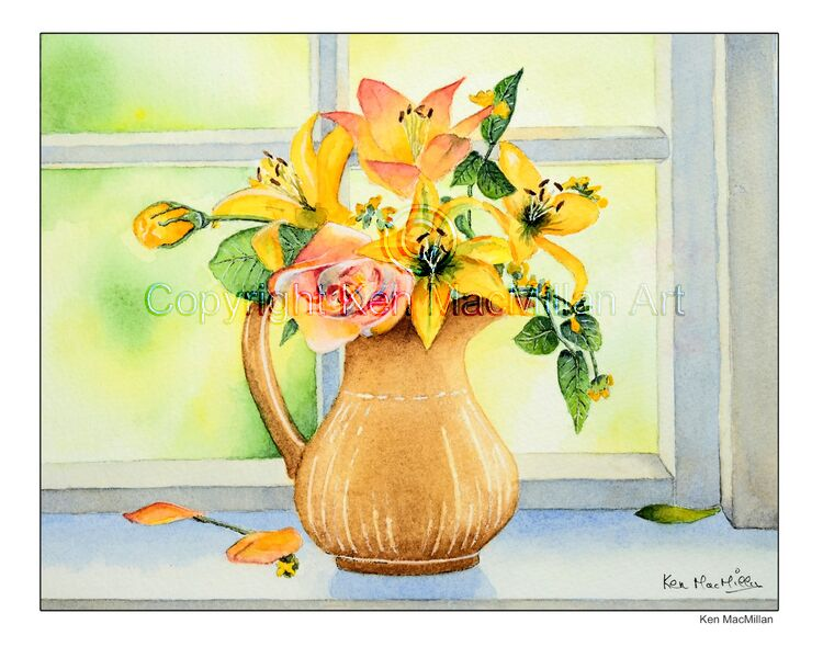 Painting of flowers in a vase.