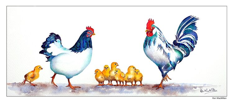 Painting of hen and rooster with chicks