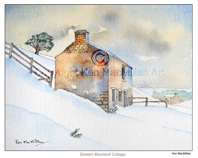 Water colour of Derelict Cottage in winter.